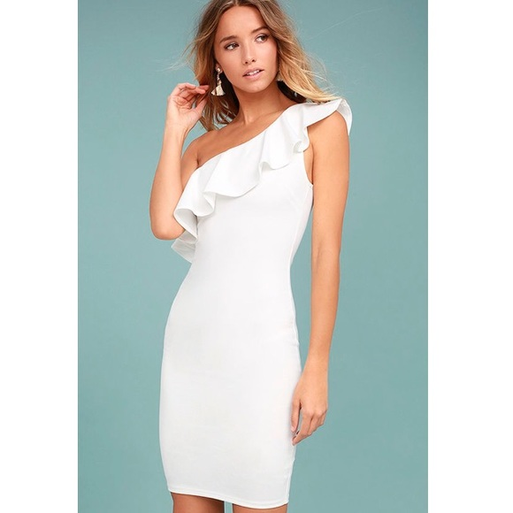1e365e6faed Ann Taylor Dresses   Skirts - Ann Taylor White Ruffle One Shoulder Dress